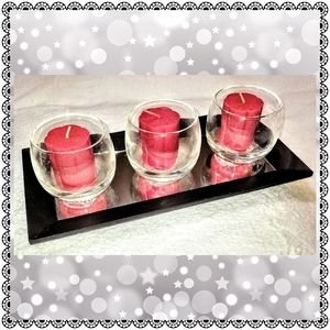 Mirrored tray w/ 3 apple votives & glass holders